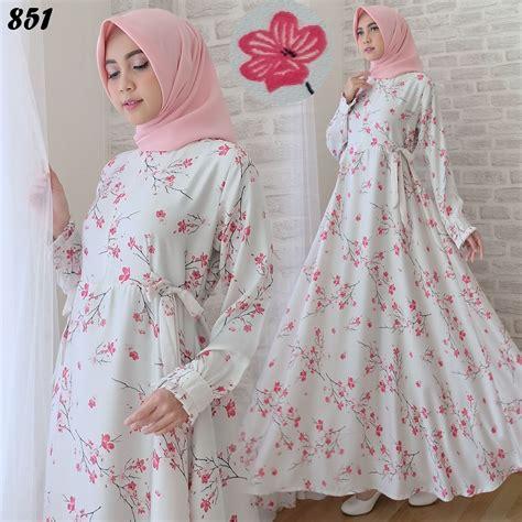 Dress Motif Bunga Busui gamis modern motif bunga cantik c851 baju muslim remaja