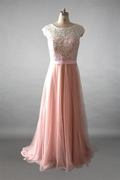 cap sleeves ivory lace dusty rose tulle long bridesmaid
