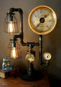 Lamp light industrial art machine diy with some copper pipes