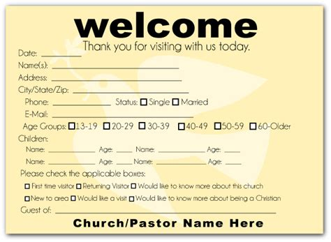 church member contact card template modern dove welcome visitor postcard church admin stuff