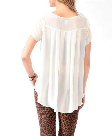 Forever21 Pleated Blouse White T3010 1 pleated high low blouse forever21 wardrobe ideas