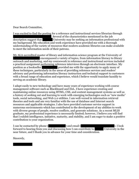 academic reference instruction librarian cover letter