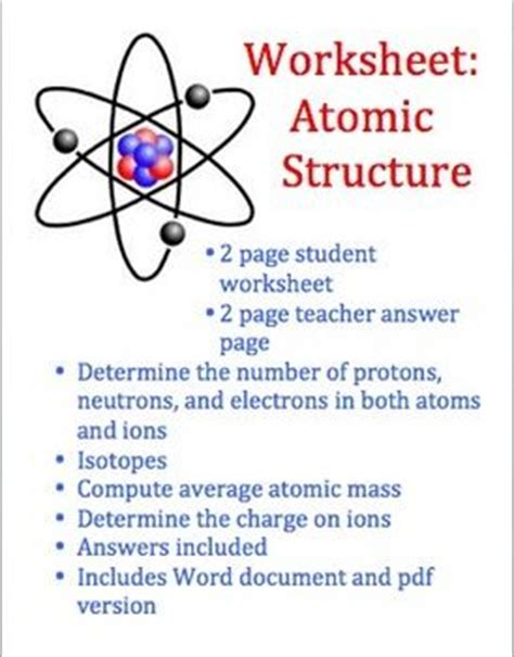 Physical Science Atomic Structure Worksheet by Worksheets Atoms And Student On