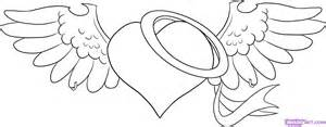 How to draw an angel heart step by step tattoos pop culture free
