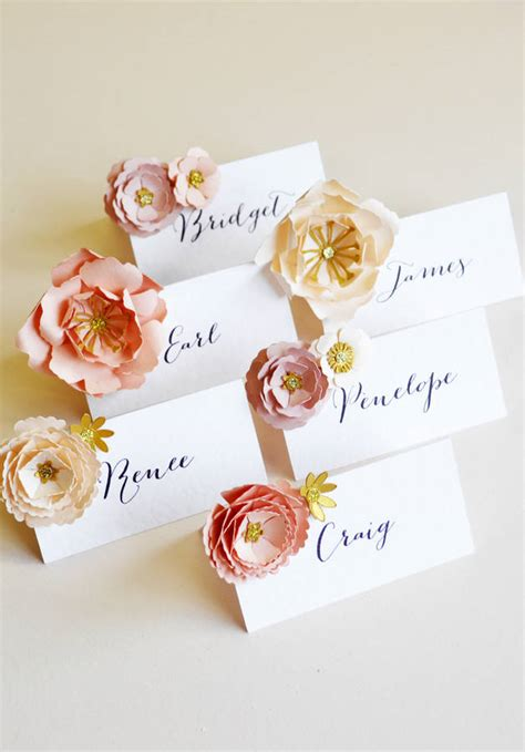 Handmade Card Company Names - set of six handmade metallic paper flower placecards by