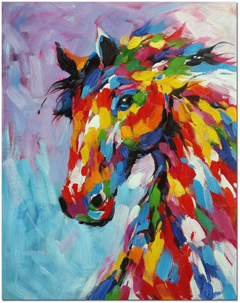colorful horses original colorful painting painted multi