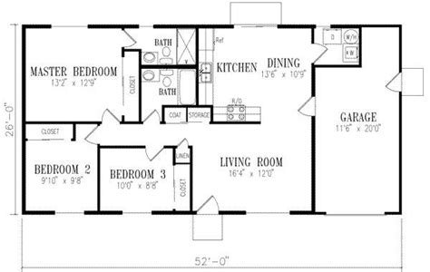 garage floor plans with bathroom 3 bedroom 2 bathroom 1 garage house plans
