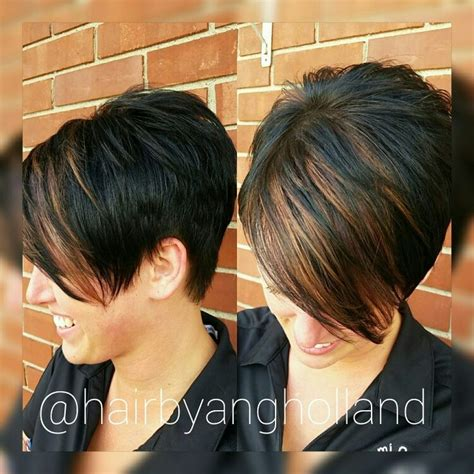 how to highlight a pixie cut black pixie with copper bangs hairbyangholland