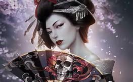 Japanese Geisha Girl Skull Art