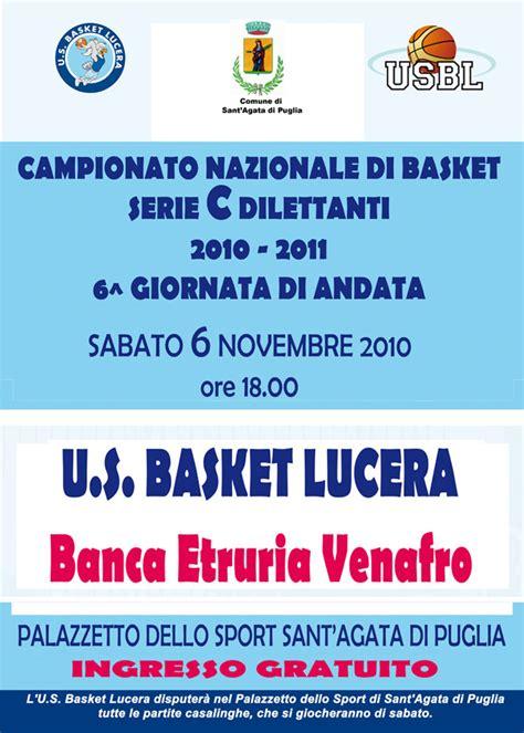 etruria venafro sabato 6 novembre us basket lucera venafro