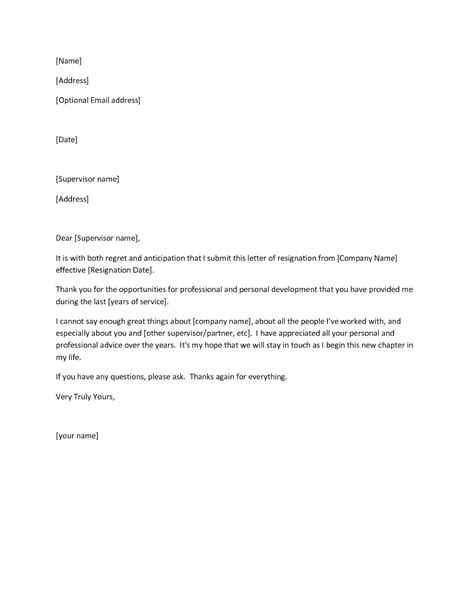 template for resignation letter for word resignation letter sle template format microsoft word