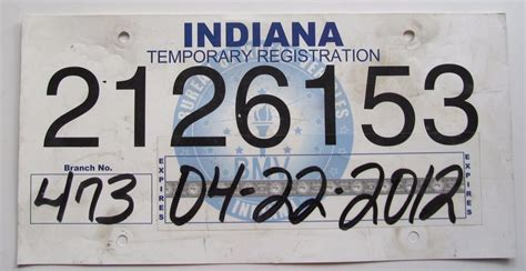 Indiana 2012 Temporary Registration License Plate 2126153 Ebay Temporary License Plate Template