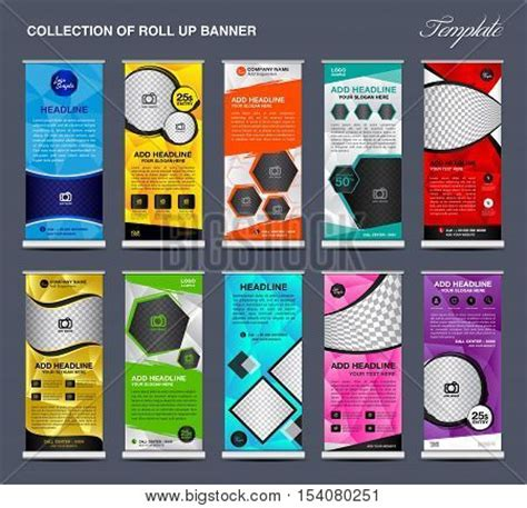 pull up banner template collection colorful roll banner vector photo bigstock