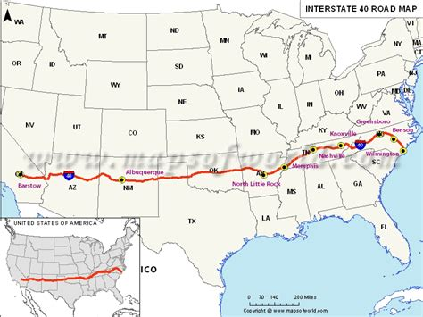 map of usa with interstate routes interstate 40 i 40 map barstow california to