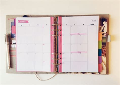 printable planner filofax my 2014 filofax set up free printables a5 calendar custom