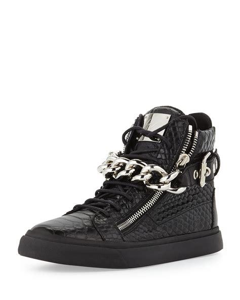 black high top sneakers mens giuseppe zanotti mens croc embossed chain high top sneaker