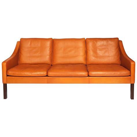 b 248 rge mogensen orange leather three seat sofa 1960s for sale at 1stdibs