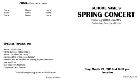 concert program templates teaching elementary orchestra template for a concert