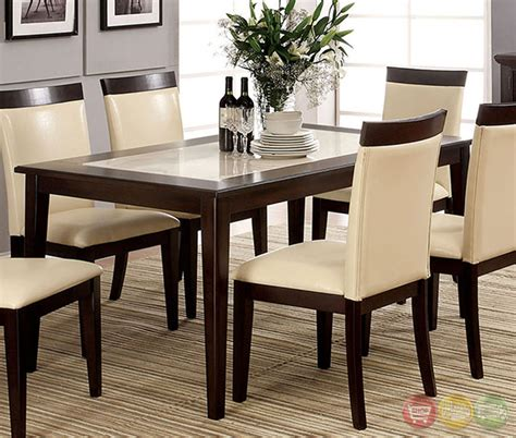 Faux Marble Top Dining Table Set Evious I Contemporary Espresso Casual Dining Set With Faux Marble Table Top Cm3841t