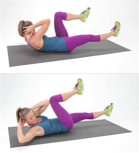 bicycle crunches   complete ab burn   quick core workout popsugar fitness