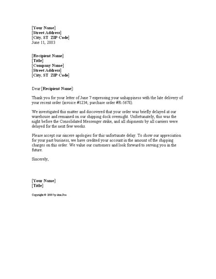 Business Apology Letter Delay Shipment business letter apology for delay the letter sle