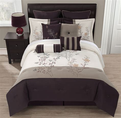 cream queen comforter sets 10 piece queen rachel chocolate taupe cream comforter set
