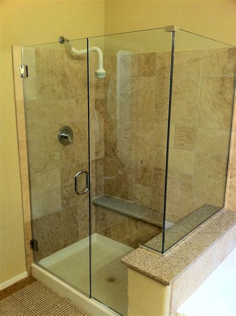 Shower Stall Glass Doors Glass Corner Shower With Pony Wall Bathroom Remodel
