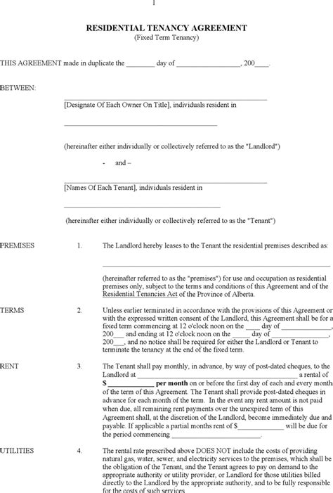 residential tenancy agreement template alberta residential tenancy agreement form for