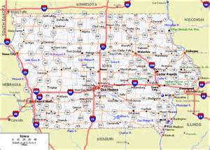 Map of iowa with cities