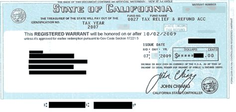 California State Background Check Picture Of California Tax Refund Iou Registered Warrant My Money