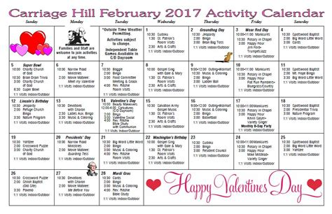 new year activities for nursing homes carriage hill health rehab center activity calendar