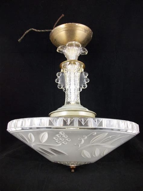 Antique Light Fixtures Vintage 30s Deco Chandelier Ceiling Light Fixture Antique Glass Shade Retro Ebay