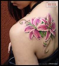 Pink Lily Flowers Tattoos On Back Shoulder For Young Girls
