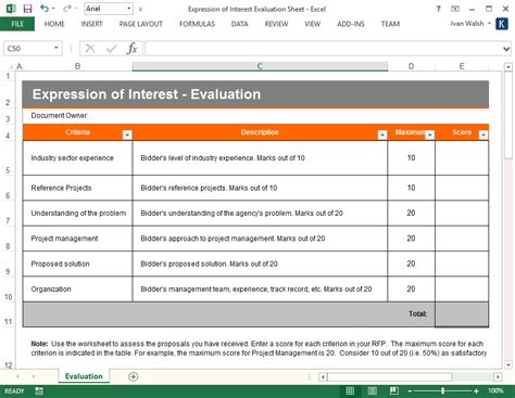 eoi templates exles expression of interest template ms word