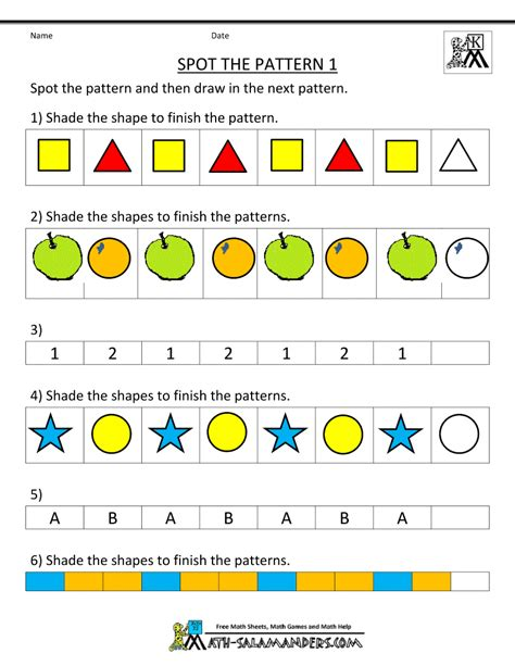 pattern video kindergarten free kindergarten worksheets spot the patterns school
