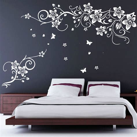 wall stickers for flower and butterfly vine wall stickers by parkins interiors notonthehighstreet