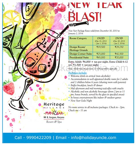 heritage village manesar  year party  booking