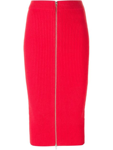t by wang ribbed knit midi skirt in lyst