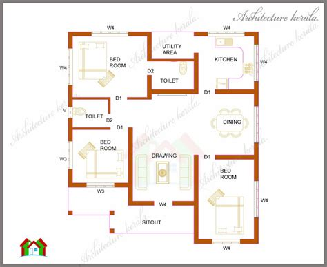 3 bedroomed house plan architecture kerala three bedrooms in 1200 square feet