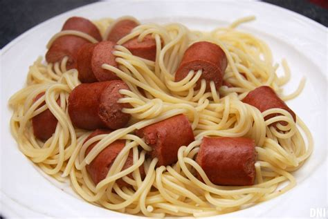 thread uncooked spaghetti through chunks of hot dog boil until noodles are cooked works with