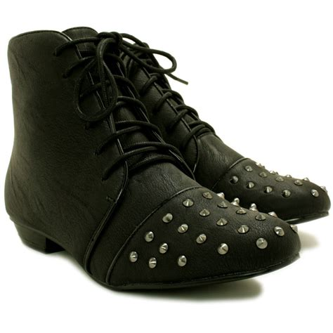 new womens flat stud lace up ankle boots size ebay