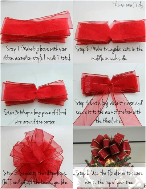 how to make bows for top of christmas tree diy tree bow home sweet ruby