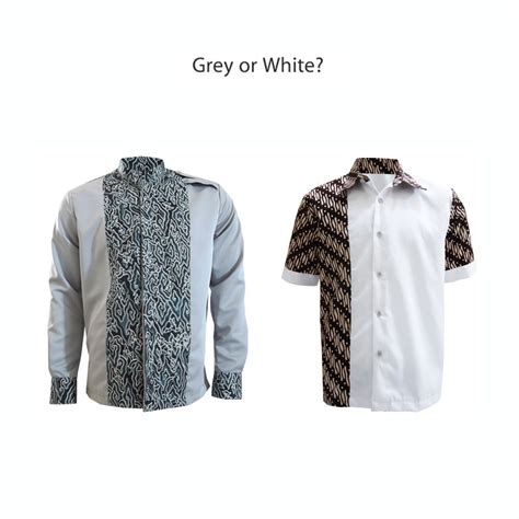 Baju Koko Colour Grey calm colors shirt grey n white brown kemejabatikmedogh
