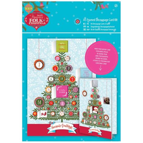 Decoupage Card Kits - folk a5 decoupage advent card kit docrafts