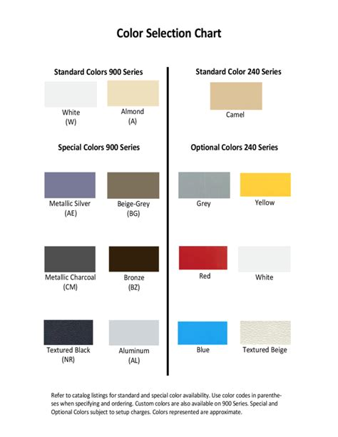 color selection general color selection chart free