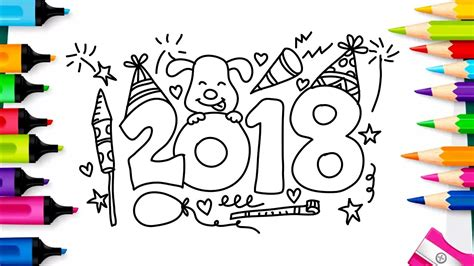 new year 2018 color happy new year 2018 coloring pages drawing for