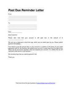 Past due invoice notice letter and past due payment letter samples