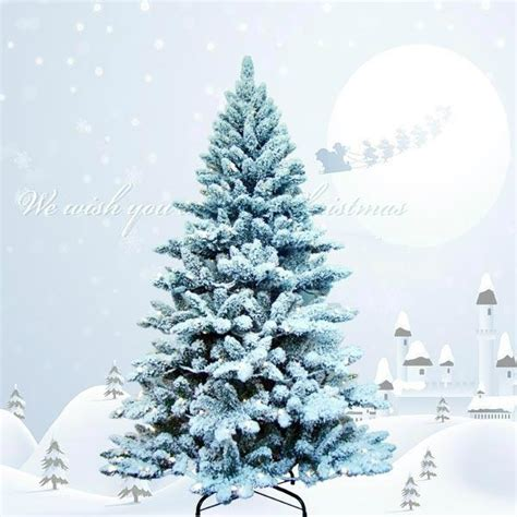 7ft green flocked christmas trees for sale mgr5a7093