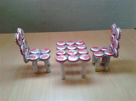 recycled craft projects for make miniature table chairs from waste bottle caps