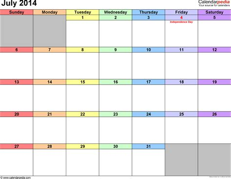 july 2014 calendar template july 2014 calendars for word excel pdf